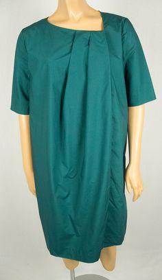 COS Dress 38 8 10 M Green Fan Pleat Front Business Casual Cotton Knee Length