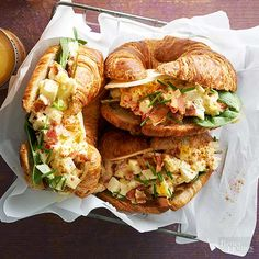 Egg sandwiches are a convenient and delicious way to serve your morning crowd. Bonus: These mouthwatering deviled-egg-filled croissants take just 25 minutes to prepare./