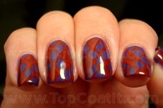 Fishnet-ish with purple and red.   from Top Coat It!