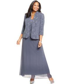 Alex Evenings Plus Size Patterned Sparkle Dress and Jacket | macys.com