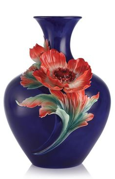 Franz Porcelain Joyful Life Anemone Design Sculptured Vase Ltd Ed Найдено на сайте ebay.com