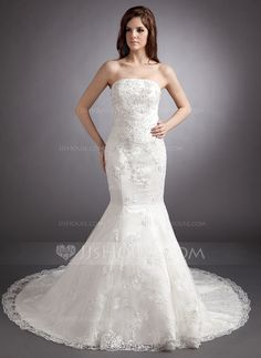 Trumpet/Mermaid Strapless Chapel Train Satin Wedding Dress With Lace Beading Sequins (002012843) - JJsHouse