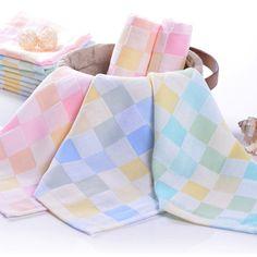 25*25cm Cotton Gauze Grid Handkerchief Soft Napkin Face Towel
