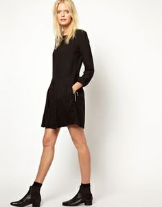 Image 4 ofGirl. by Band of Outsiders Lace Trim Shift Dress in Wool Mix Fabric