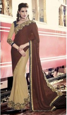 Chiffon Satin Fabric Chocolate Color Embroidered Party Wear Saris | FH512778058  #party , #wear, #saree, #saris, #indian, #festive, #fashion, #online, #shopping, #designer, #usa, #henna, #boutique, #heenastyle, #style, #traditional, #wedding, #bridel, #casual, @heenastyle , #blouse, #prestiched, #readymade, #stitched , #Georgette , #embroidery