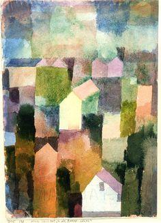 Paul Klee, Quartier neuf d'une ville d'une partie francophone de Suisse (New quarter of a city of a French-speaking part of Switzerland), 1915 Watercolor/paper/cardboard on ArtStack #paul-klee #art