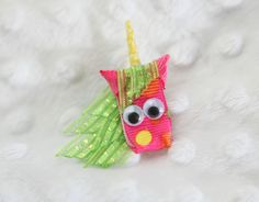 Ava the Unicorn Ribbon Sculpture Hair Clip by lemonsnicker on Etsy adore this one!! Ava loves this clip