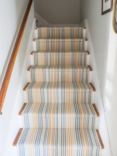 We love a great stair runner installation. Check out our current favorite from DIY doyenne Miss Mustard Seed, featuring a cotton area rug runner. White Carpet, Diy Carpet, Laundry Closet Makeover, Camper Makeover, Stair Runner Installation, Carpet Stairs, Hall Carpet, Kitchen Carpet, Carpet Runner