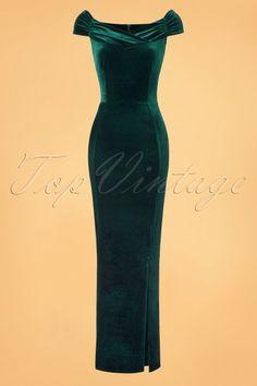 Vintage Chic Velvet Maxi Dress in Green 23916 20161010 0008W