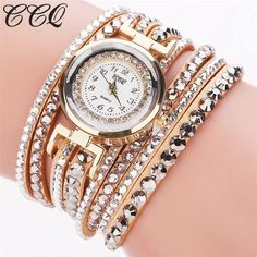 d567b29c911af CCQ Brand Fashion Leather Bracelet Watch Women Luxury Full Crystal Quartz  Wristwatch Relogio Feminino Clock C82