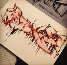 3D Graffiti : Sketches Graffiti Wildstyle With Water Effect On BlackBook Amazing 3D Graffiti Wildstyle on Paper