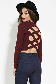 Marled Strappy Cutout Crop Top   Forever 21 - 2000167928