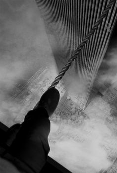 Philippe Petit walking between the Twin Towers on a wire, 7 August 1974.