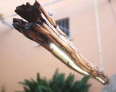 lampada sospensione in legno ;tronco castagno led