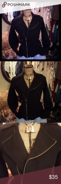 4147271e7bc Lauren Ralph Lauren Sweater RLR Sweater Coat 100% Lambswool Black with Gold  Zippers Size Small
