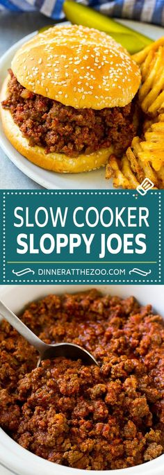 Four Kitchen Decorating Suggestions Which Can Be Cheap And Simple To Carry Out Slow Cooker Sloppy Joes Recipe Sloppy Joe Recipe Crock Pot, Homemade Sloppy Joe Sauce, Slow Cooker Hamburger Recipes, Beef Meals, Freezer Meals, Easy Meals, Slow Cooker Sloppy Joes, Easy Sloppy Joes, Chicken