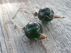 Handmade Earrings, Vintage Lampwork Green Glass Beads w/ Brass Wire by JoeisStuff on Etsy