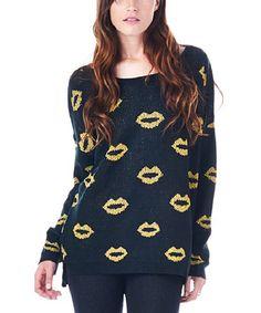 Look at this #zulilyfind! Black & Gold Lips Boatneck Sweater #zulilyfinds