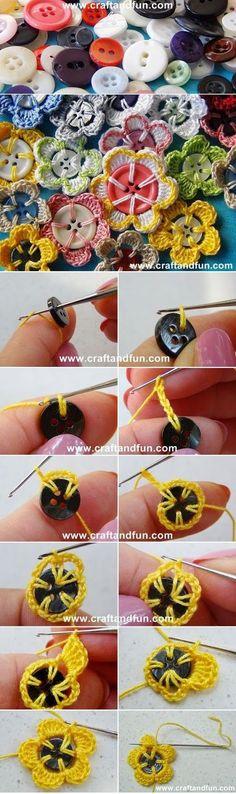 Enlouqueci com esa diea de fazer florzinhas de crochet usando os botões como miolinhos! Clique AQUI. Inspirou-se também ? Es...
