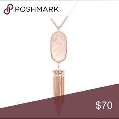"NEW Kendra Scott Rayne Necklace - Peach Illusion BRAND NEW Kendra Scott Rayna necklace rose gold necklace with peach stone. 14K gold plated over brass. 30"" chain with extender. Never been worn! Kendra Scott Jewelry Necklaces"