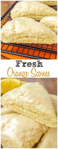 These perfectly tender fresh orange scones have such a bright citrus flavor and are topped off with a sweet + tangy orange glaze. Brunch Recipes, Breakfast Recipes, Dessert Recipes, Breakfast Scones, Delicious Desserts, Yummy Food, Orange Scones, Slow Cooker Desserts, Snacks