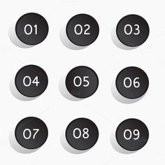 Buttons number blue color vector by @Graphicsauthor