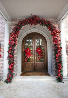 Christmas front porch garland