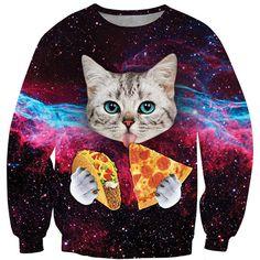 Chicnova Fashion Crew Neck Cat Print Sweatshirt ($12) ❤ liked on Polyvore featuring tops, hoodies, sweatshirts, cat print top, sweatshirts hoodies, sweat shirts, crew-neck sweatshirts and cat sweatshirt