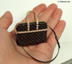 LV Ooak Designer Handbags Men's Business Bags 2 by DollhouseAra Miniature Crafts, Miniature Dolls, Barbie Shoes, Barbie Dolls, Barbie Accessories, Handbag Accessories, Handmade Handbags, Mini Handbags, Mini Things