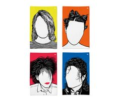 'Bjork, Kurt Cobain, Michael Jackson and Robert Smith' Tea Towels £10 each from Bold & Noble