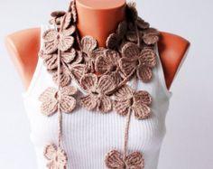 crochet lariat flower scarf in dark grey by SenasShop on Etsy