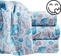 #cool By The #Seashore brings a casual coastal atmosphere to your home. Thismicrofiber #sheet set features a cheerful seashell pattern and includesa flat sheet, a...