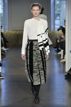 Levi Palmer and Matthew Harding played with velvet stripes on white silk shirting for their urbane collection.  [Photo by Courtesy]