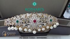 Floral Diamond Vaddanam adorned with sparkling Diamonds, Rubies, Emeralds and South Sea Pearls.
