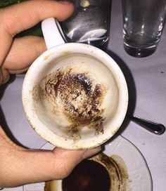 http://www.turkishstylegroundcoffee.com/turkish-coffee-reading/ Coffee cup reading. The cup is ready for symbol interpretation. Can you do it? #turkishcoffeereading #greekcoffeereading #fortunetelling #coffeecupreading #turkishcoffee #greekcoffee