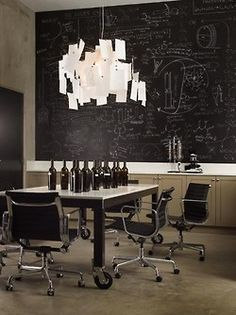 love the hanging ideas lamp...and the black board
