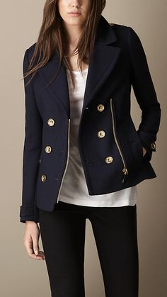 $995, Navy Pea Coat: Burberry Regital Pleat Pea Coat. Sold by Burberry. Click for more info: https://lookastic.com/women/shop_items/3905/redirect