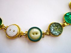 Green & Gold antique BUTTON bracelet all GLASS buttons, by sewsandyshop. One of a kind