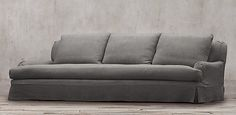 Restoration Hardware - Belgian Classic Roll Arm.  6 lengths, 2 depths, 93 fabrics. Slipcovered & upholstered. Shown in graphite Belgian Linen.  Starting at $1695 retail.