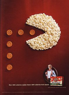 This ad for Orville Redenbacher's popcorn is a good use of multiple design elements. The crackers form a line that the eye follows (of course this is in part due to the PacMan reference), and the background works as white space to highlight the popcorn and cracker shapes. Additionally, the red background has a subtle texture to it, which overall enhances the look of the image.