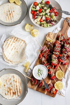 Greek Lamb Souvlaki with a Garlic Yogurt Dip