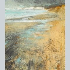 Compton Bay, tide out by Sarah Bee Pastel over acrylic wash