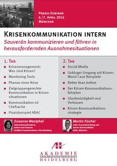 AH Akademie für Fortbildung Heidelberg GmbH: Krisenkommunikation intern am 6./7. April 2016 in München #Unternehmenskommunikation #Kommunikation #Krisenkommunikation #Krisenmanagement #ADAC #SocialMedia #Kommunikationsstrategie #Fortbildung #Praxisseminar #Kurs #AkademieHeidelberg