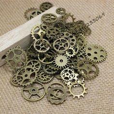 Mix 100 pcs Vintage steampunk Charms Gear Pendant Antique bronze Fit Bracelets Necklace DIY Metal Jewelry Making T0125 Alternative Measures - Alternative Measures -