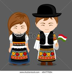 Illustration of Hungarians in national dress with a flag. Man and woman in traditional costume. Travel to Hungary. World Travel Tattoos, Costumes Around The World, Travel Party, Thinking Day, Vintage Paper Dolls, En Stock, Flat Illustration, People Of The World, Traditional Outfits