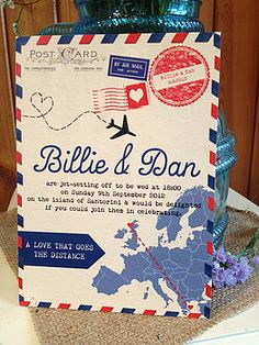 Stunning Vintage Airmail Wedding Invitation