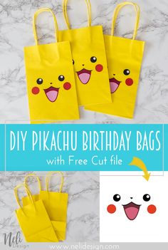 Pikachu | party bags | party favors | Silhouette Cut file | Easy DIY | Sacs surprises | Fête | Pokémon | Ficher de coupe Silhouette