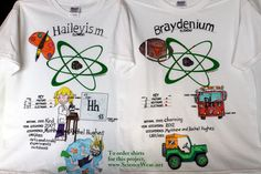"""Beginning of year """"Getting to Know"""" science project for elementary/intermediate.  Each student makes a shirt featuring them.  Each similar yet unique.  Could be used for school spirit, field trips, class pride. Find out more- http://sciencewear.net/atomic-attire.html"""