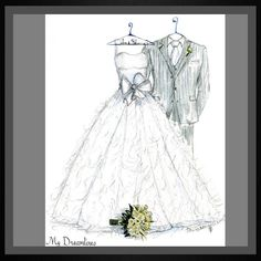 Perfect gift. Christmas Gift. Christmas Gift For Wife. Gift For Wife. Anniversary Gift. Bridal Shower Gift. Wedding gift from groom to bride, bride gift, gift from groom, gift from groom to bride, wedding day gift, wedding day gift for bride, wedding day gift from groom.  #christmasgiftwife   #giftforwife   www.mydreamlines....  Wedding Dress Sketch with suit, bouquet and frame.  #weddingdresssketch