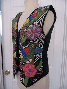 Vintage 80s Mola Vest with Birds and Flowers by by calivintage54